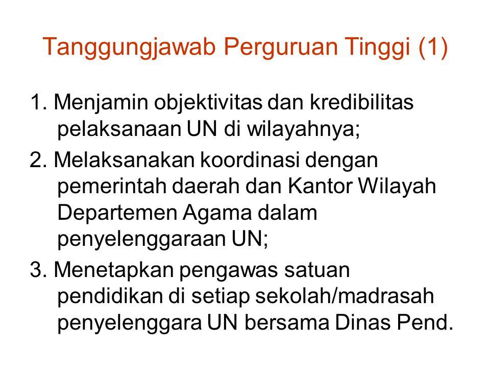 Tanggungjawab Perguruan Tinggi (1) 1. Menjamin objektivitas dan kredibilitas pelaksanaan UN di wilayahnya; 2. Melaksanakan koordinasi dengan pemerinta