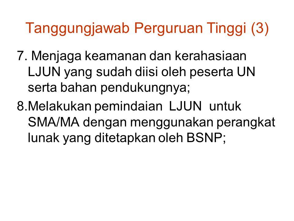 Tanggungjawab Perguruan Tinggi (3) 7. Menjaga keamanan dan kerahasiaan LJUN yang sudah diisi oleh peserta UN serta bahan pendukungnya; 8.Melakukan pem