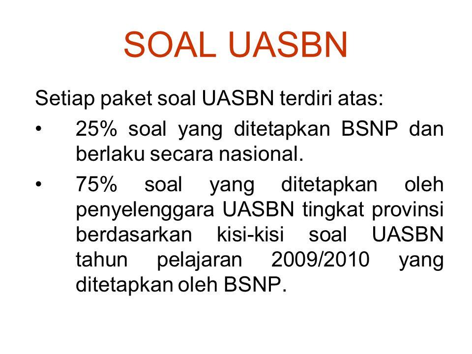 SOAL UASBN Setiap paket soal UASBN terdiri atas: 25% soal yang ditetapkan BSNP dan berlaku secara nasional. 75% soal yang ditetapkan oleh penyelenggar