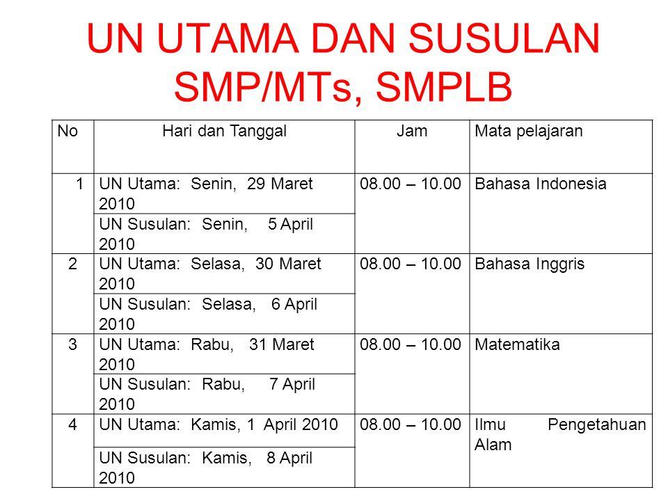 UN UTAMA DAN SUSULAN SMP/MTs, SMPLB NoHari dan TanggalJamMata pelajaran 1UN Utama: Senin, 29 Maret 2010 08.00 – 10.00Bahasa Indonesia UN Susulan: Seni