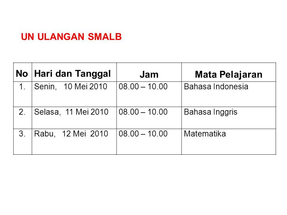 NoHari dan Tanggal JamMata Pelajaran 1.Senin, 10 Mei 201008.00 – 10.00Bahasa Indonesia 2.Selasa, 11 Mei 201008.00 – 10.00Bahasa Inggris 3.Rabu, 12 Mei