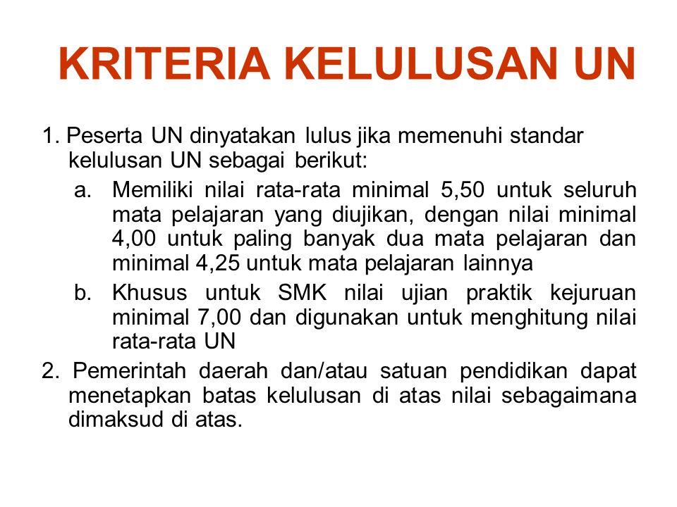 KRITERIA KELULUSAN UN 1. Peserta UN dinyatakan lulus jika memenuhi standar kelulusan UN sebagai berikut: a.Memiliki nilai rata-rata minimal 5,50 untuk