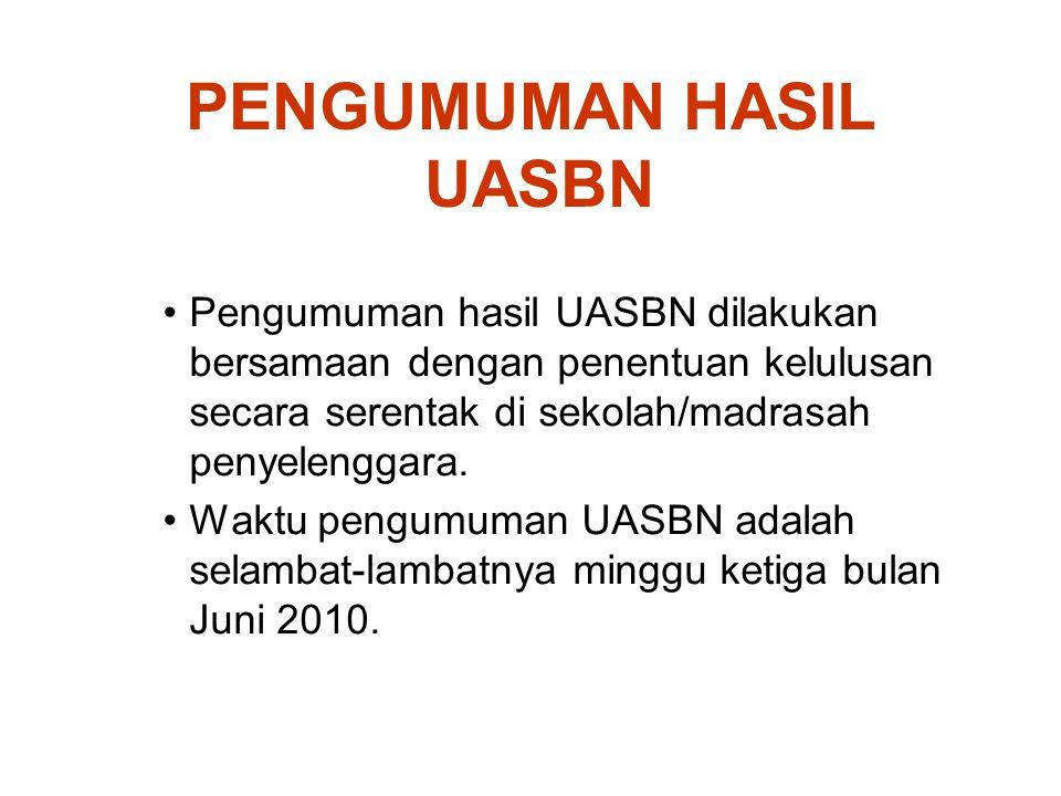 PENGUMUMAN HASIL UASBN Pengumuman hasil UASBN dilakukan bersamaan dengan penentuan kelulusan secara serentak di sekolah/madrasah penyelenggara. Waktu