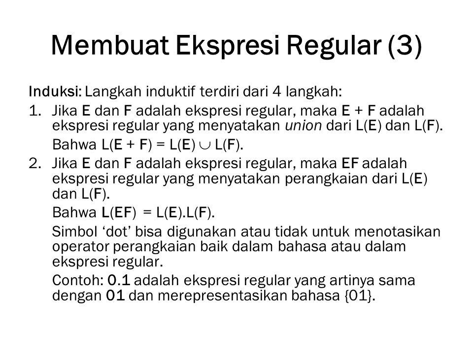 Membuat Ekspresi Regular (3) Induksi: Langkah induktif terdiri dari 4 langkah: 1.Jika E dan F adalah ekspresi regular, maka E + F adalah ekspresi regu
