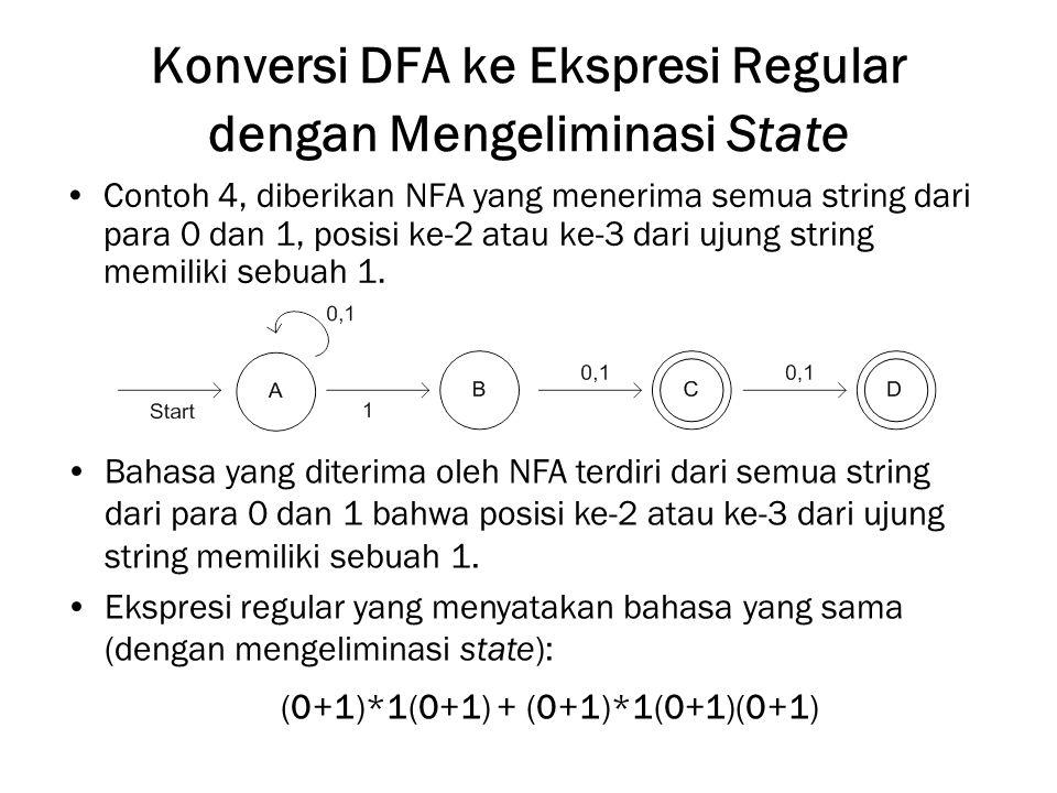 Konversi DFA ke Ekspresi Regular dengan Mengeliminasi State Contoh 4, diberikan NFA yang menerima semua string dari para 0 dan 1, posisi ke-2 atau ke-