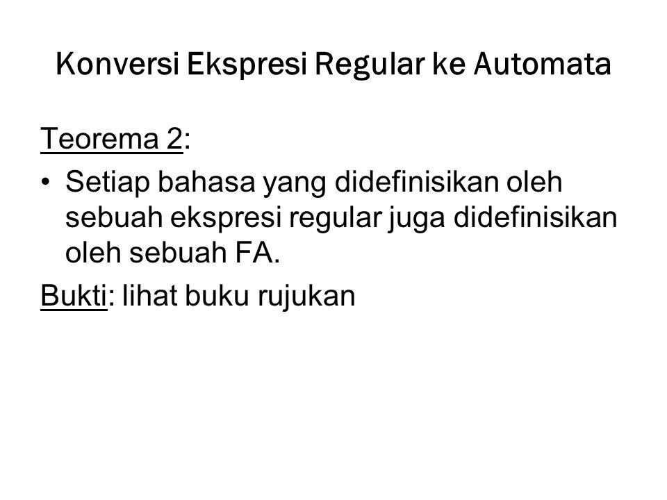 Konversi Ekspresi Regular ke Automata Teorema 2: Setiap bahasa yang didefinisikan oleh sebuah ekspresi regular juga didefinisikan oleh sebuah FA. Bukt