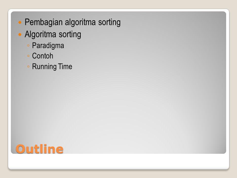 Outline Pembagian algoritma sorting Algoritma sorting ◦ Paradigma ◦ Contoh ◦ Running Time