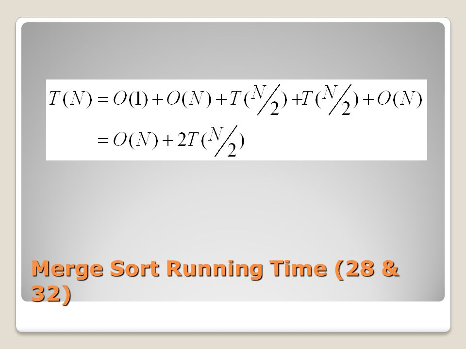 Merge Sort Running Time (28 & 32)