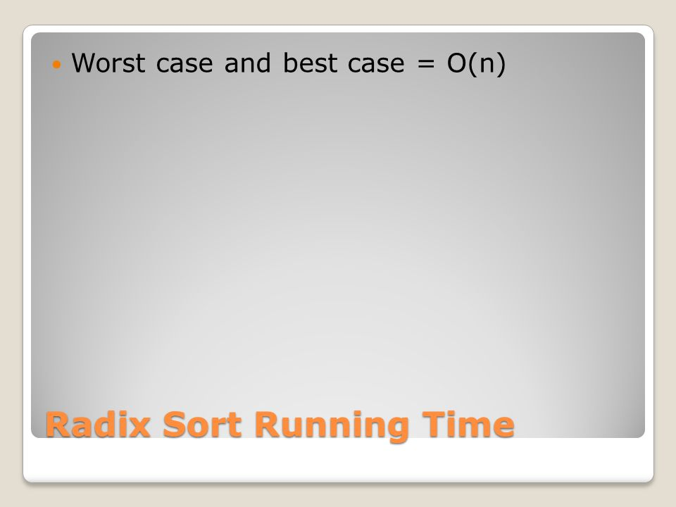 Radix Sort Running Time Worst case and best case = O(n)