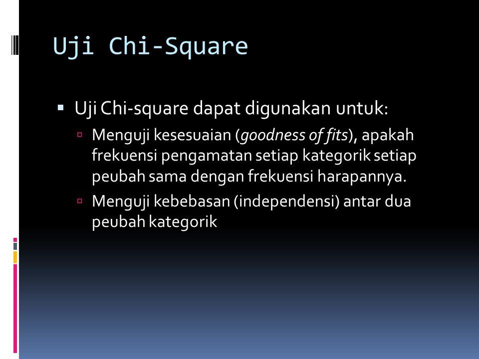 Uji Chi-Square  Uji Chi-square dapat digunakan untuk:  Menguji kesesuaian (goodness of fits), apakah frekuensi pengamatan setiap kategorik setiap peubah sama dengan frekuensi harapannya.