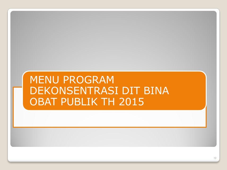 MENU PROGRAM DEKONSENTRASI DIT BINA OBAT PUBLIK TH 2015 19