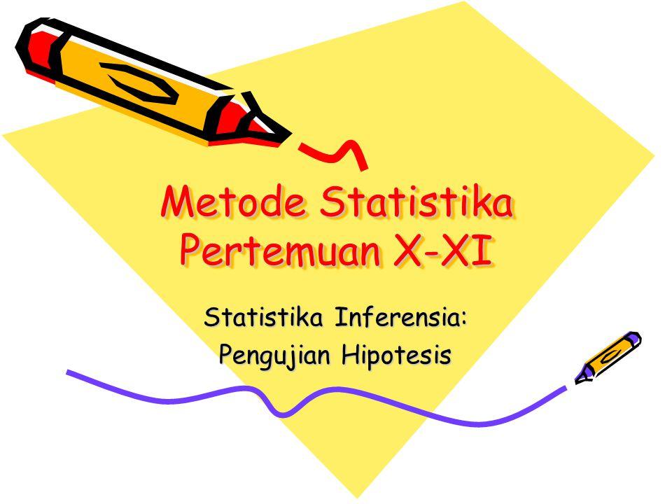 Metode Statistika Pertemuan X-XI Statistika Inferensia: Pengujian Hipotesis