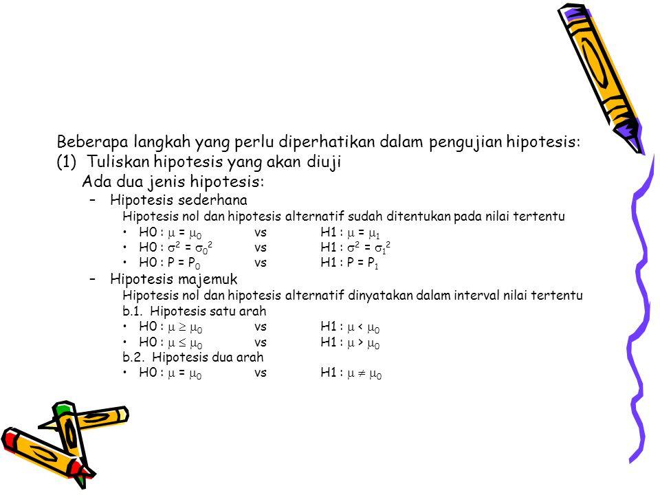 Beberapa langkah yang perlu diperhatikan dalam pengujian hipotesis: (1) Tuliskan hipotesis yang akan diuji Ada dua jenis hipotesis: –Hipotesis sederha