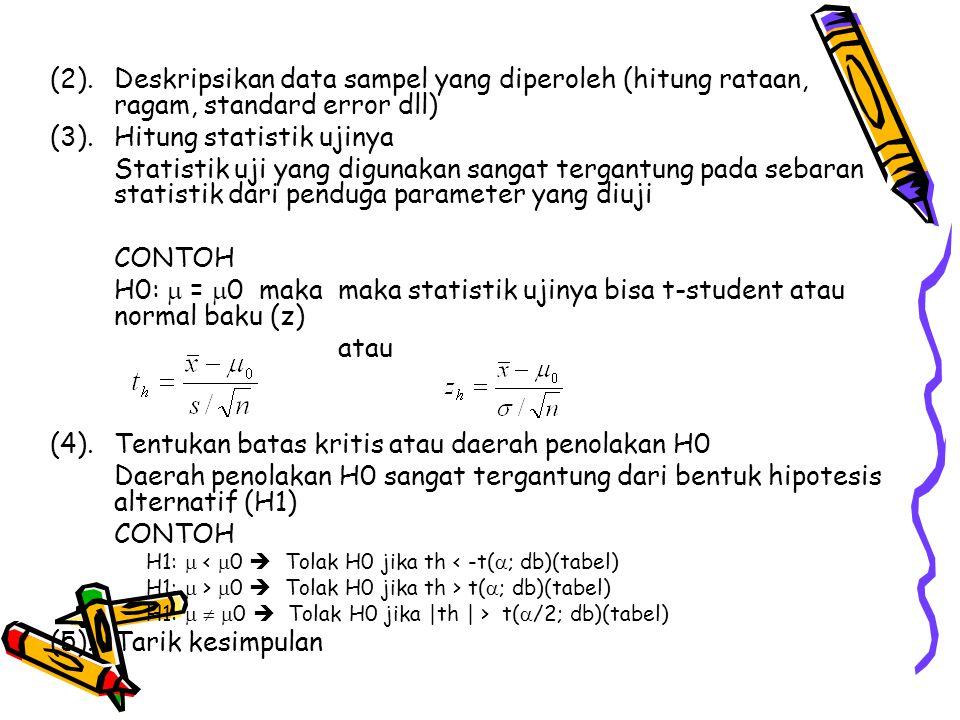 (2). Deskripsikan data sampel yang diperoleh (hitung rataan, ragam, standard error dll) (3). Hitung statistik ujinya Statistik uji yang digunakan sang
