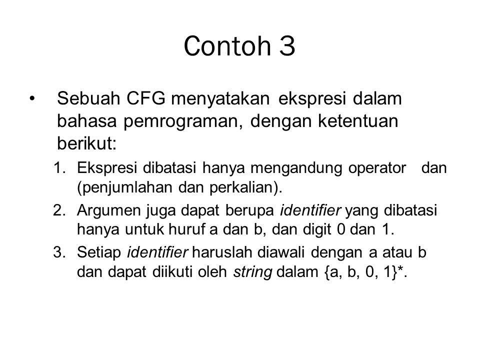 Contoh 3 Sebuah CFG menyatakan ekspresi dalam bahasa pemrograman, dengan ketentuan berikut: 1.Ekspresi dibatasi hanya mengandung operator dan (penjuml