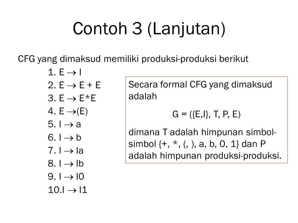 Contoh 3 (Lanjutan) CFG yang dimaksud memiliki produksi-produksi berikut 1.E  I 2.E  E + E 3.E  E*E 4.E  (E) 5.I  a 6.I  b 7.I  Ia 8.I  Ib 9.I