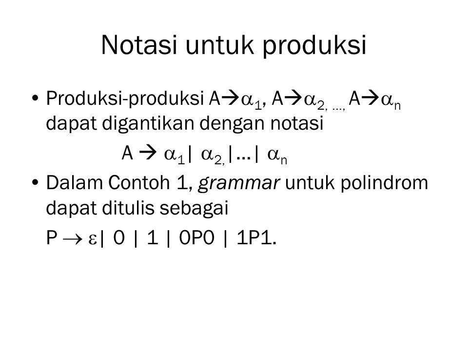 Notasi untuk produksi Produksi-produksi A   1, A   2, …, A   n dapat digantikan dengan notasi A   1 |  2, |…|  n Dalam Contoh 1, grammar unt
