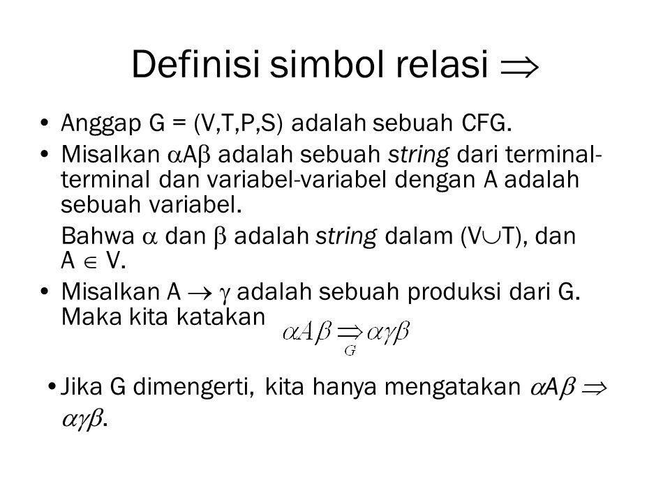 Definisi simbol relasi  Anggap G = (V,T,P,S) adalah sebuah CFG. Misalkan  A  adalah sebuah string dari terminal- terminal dan variabel-variabel den