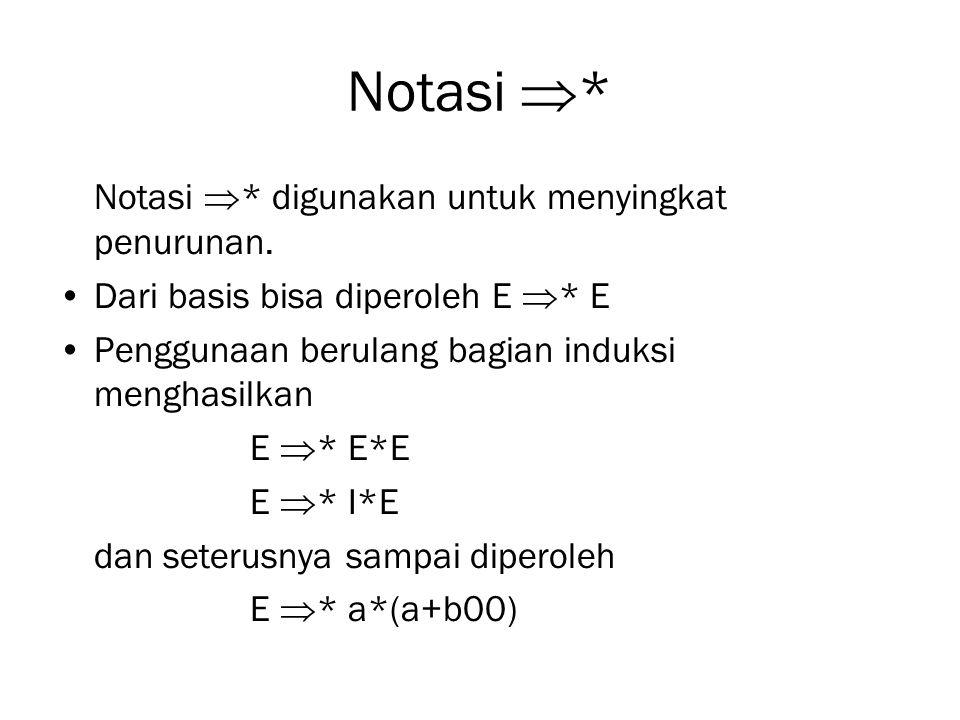Notasi  * Notasi  * digunakan untuk menyingkat penurunan. Dari basis bisa diperoleh E  * E Penggunaan berulang bagian induksi menghasilkan E  * E*