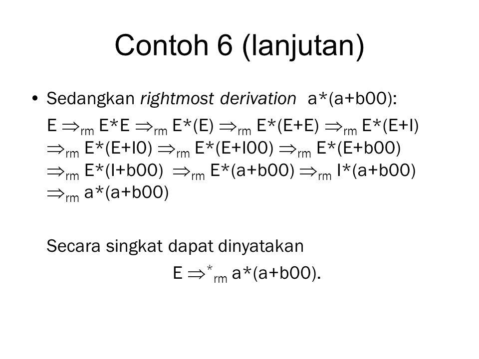 Contoh 6 (lanjutan) Sedangkan rightmost derivation a*(a+b00): E  rm E*E  rm E*(E)  rm E*(E+E)  rm E*(E+I)  rm E*(E+I0)  rm E*(E+I00)  rm E*(E+b