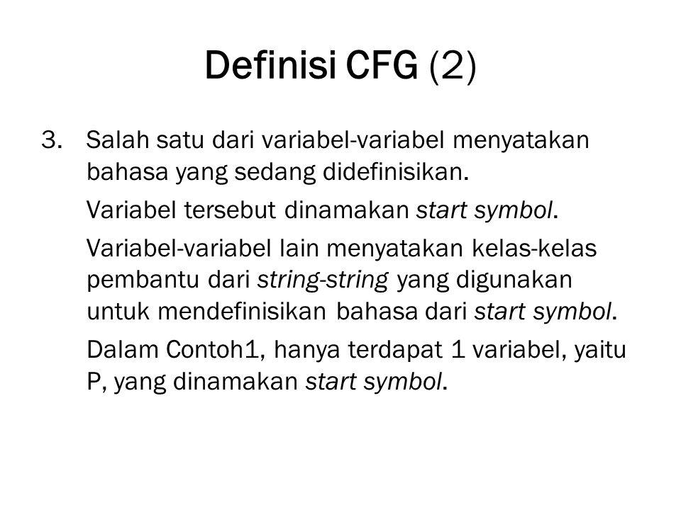 Definisi CFG (3) 4.Himpunan berhingga dari produksi-produksi atau aturan- aturan yang menyatakan definisi rekursif dari sebuah bahasa.
