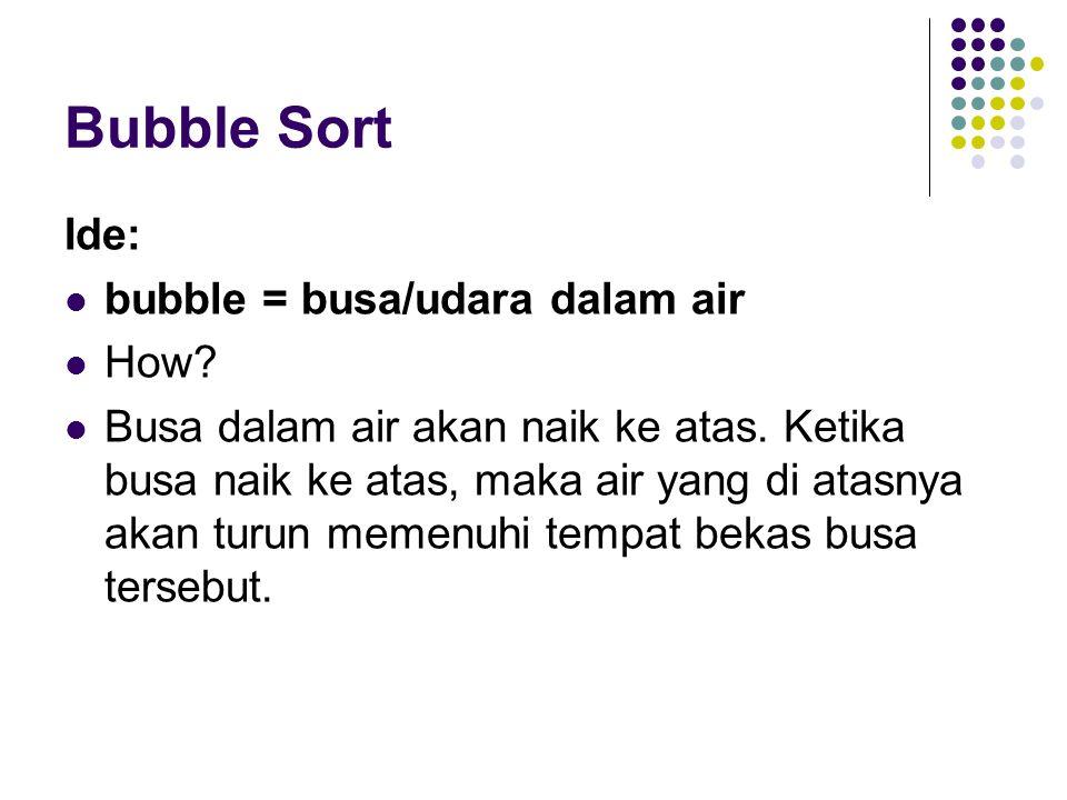 Bubble Sort Ide: bubble = busa/udara dalam air How? Busa dalam air akan naik ke atas. Ketika busa naik ke atas, maka air yang di atasnya akan turun me