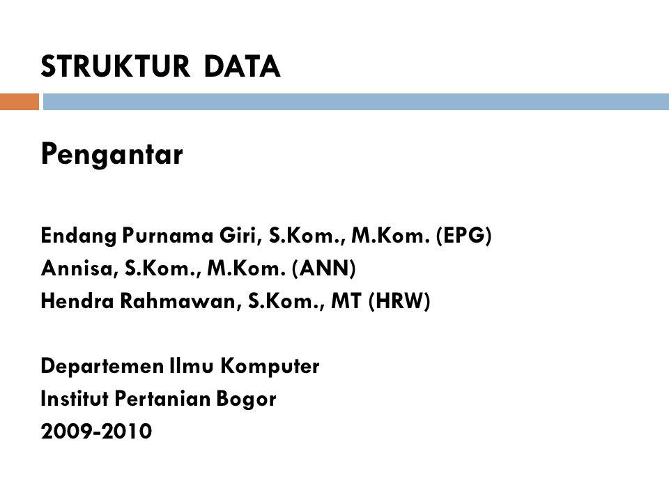 STRUKTUR DATA Pengantar Endang Purnama Giri, S.Kom., M.Kom. (EPG) Annisa, S.Kom., M.Kom. (ANN) Hendra Rahmawan, S.Kom., MT (HRW) Departemen Ilmu Kompu