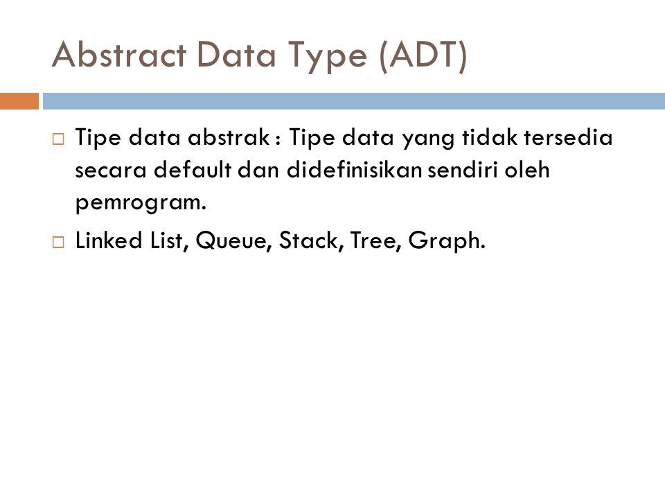 Abstract Data Type (ADT)  Tipe data abstrak : Tipe data yang tidak tersedia secara default dan didefinisikan sendiri oleh pemrogram.  Linked List, Q