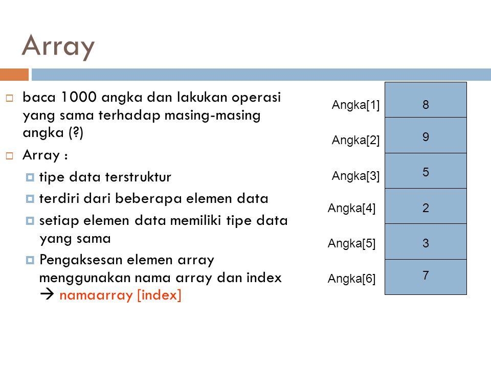  baca 1000 angka dan lakukan operasi yang sama terhadap masing-masing angka (?)  Array :  tipe data terstruktur  terdiri dari beberapa elemen data  setiap elemen data memiliki tipe data yang sama  Pengaksesan elemen array menggunakan nama array dan index  namaarray [index] Array 8 9 5 2 3 7 Angka[1] Angka[2] Angka[3] Angka[4] Angka[5] Angka[6]