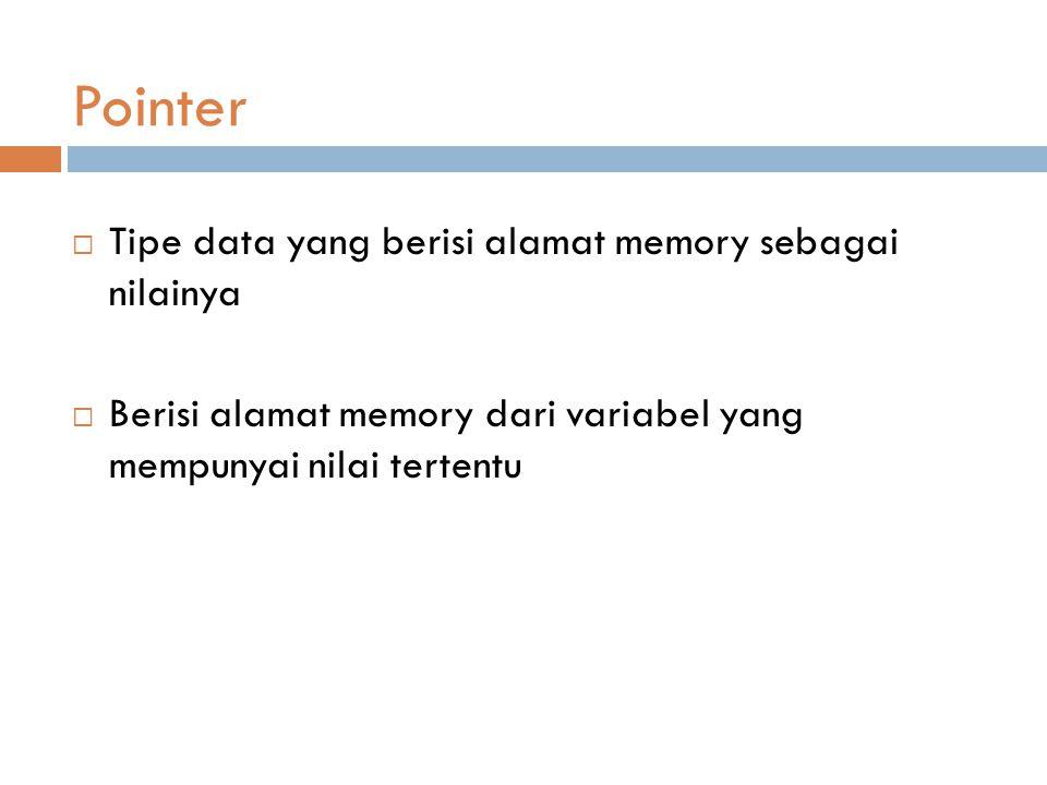 Pointer  Tipe data yang berisi alamat memory sebagai nilainya  Berisi alamat memory dari variabel yang mempunyai nilai tertentu