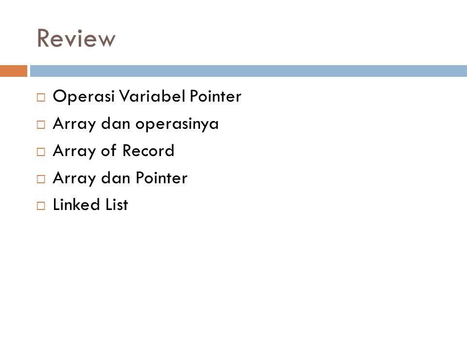 Review  Operasi Variabel Pointer  Array dan operasinya  Array of Record  Array dan Pointer  Linked List