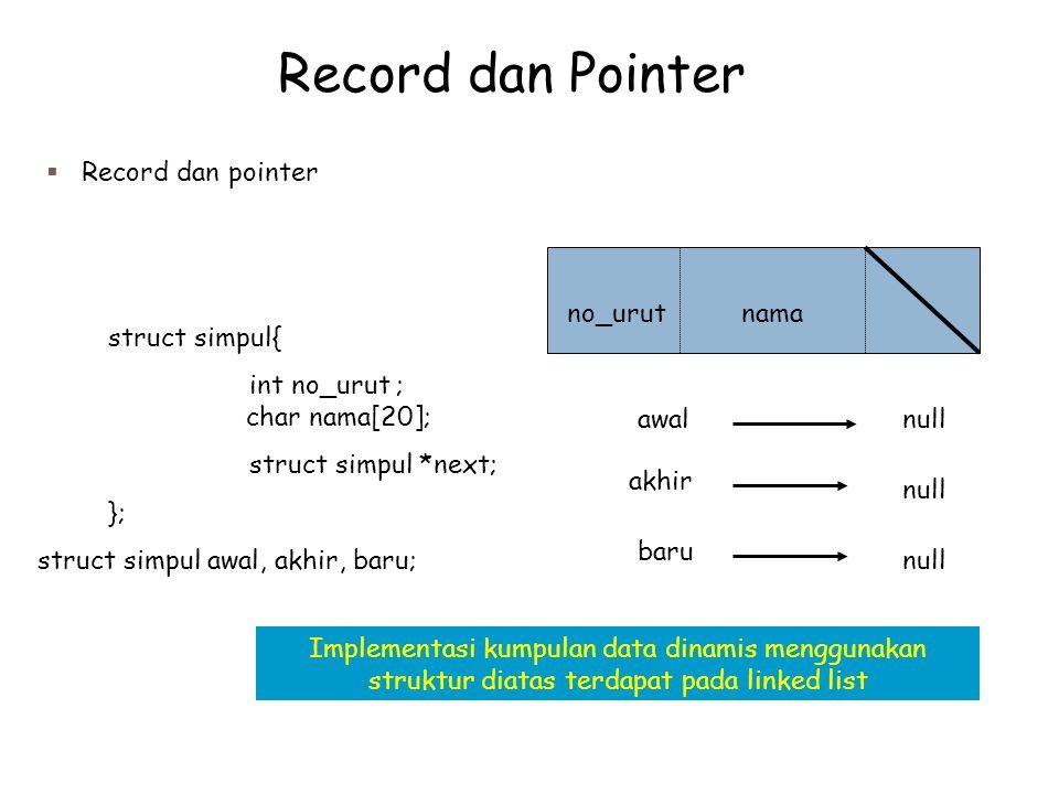 Record dan Pointer  Record dan pointer struct simpul{ int no_urut ; char nama[20]; struct simpul *next; }; struct simpul awal, akhir, baru; no_urutnama awal akhir baru null Implementasi kumpulan data dinamis menggunakan struktur diatas terdapat pada linked list