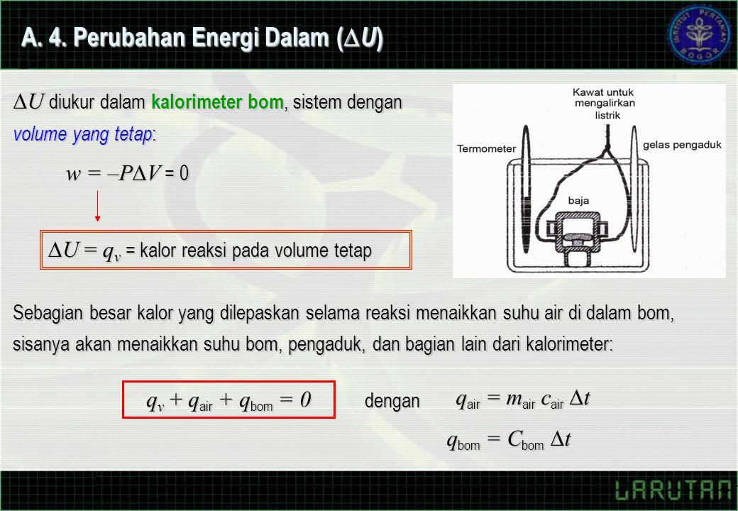 A. 4. Perubahan Energi Dalam (  U ) Sebagian besar kalor yang dilepaskan selama reaksi menaikkan suhu air di dalam bom, sisanya akan menaikkan suhu b