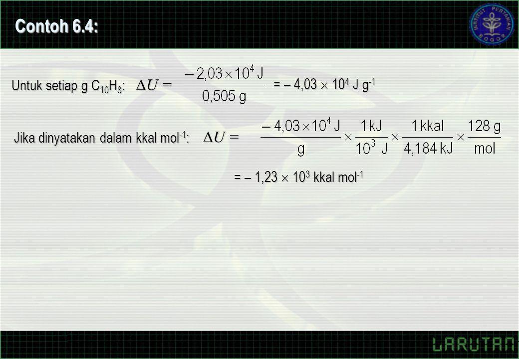 Untuk setiap g C 10 H 8 :  U = = – 4,03  10 4 J g -1 Jika dinyatakan dalam kkal mol -1 :  U = = – 1,23  10 3 kkal mol -1 Contoh 6.4: