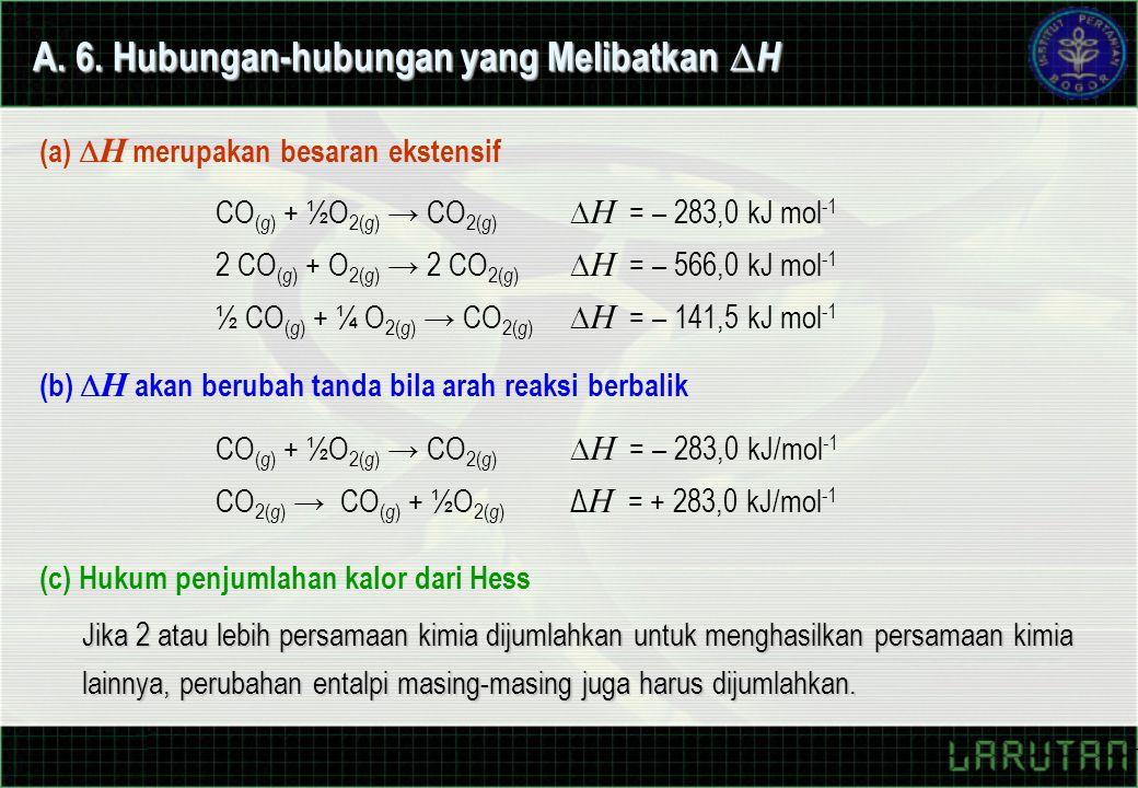 A. 6. Hubungan-hubungan yang Melibatkan  H (a)  H merupakan besaran ekstensif (b)  H akan berubah tanda bila arah reaksi berbalik (c) Hukum penjuml