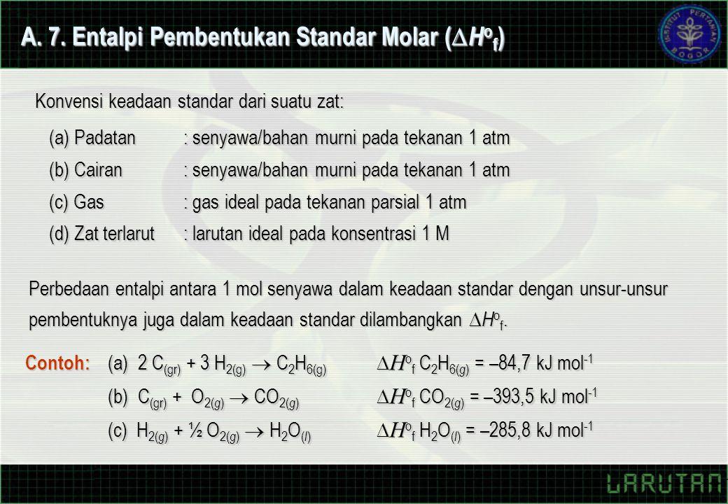 A. 7. Entalpi Pembentukan Standar Molar (  H o f ) Perbedaan entalpi antara 1 mol senyawa dalam keadaan standar dengan unsur-unsur pembentuknya juga
