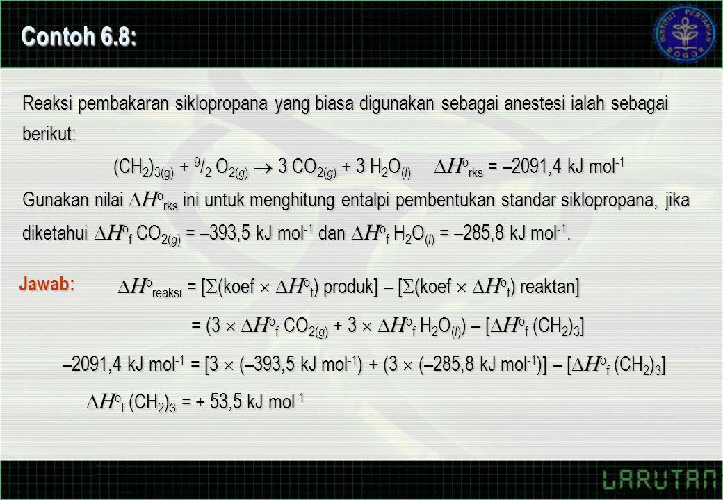 Contoh 6.8: Reaksi pembakaran siklopropana yang biasa digunakan sebagai anestesi ialah sebagai berikut: (CH 2 ) 3(g) + 9 / 2 O 2( g )  3 CO 2( g ) + 3 H 2 O ( l )  H o rks = –2091,4 kJ mol -1 Gunakan nilai  H o rks ini untuk menghitung entalpi pembentukan standar siklopropana, jika diketahui  H o f CO 2( g ) = –393,5 kJ mol -1 dan  H o f H 2 O ( l ) = –285,8 kJ mol -1.