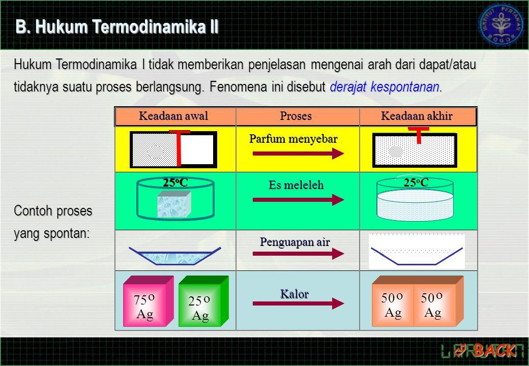 B. Hukum Termodinamika II Hukum Termodinamika I tidak memberikan penjelasan mengenai arah dari dapat/atau tidaknya suatu proses berlangsung. Fenomena