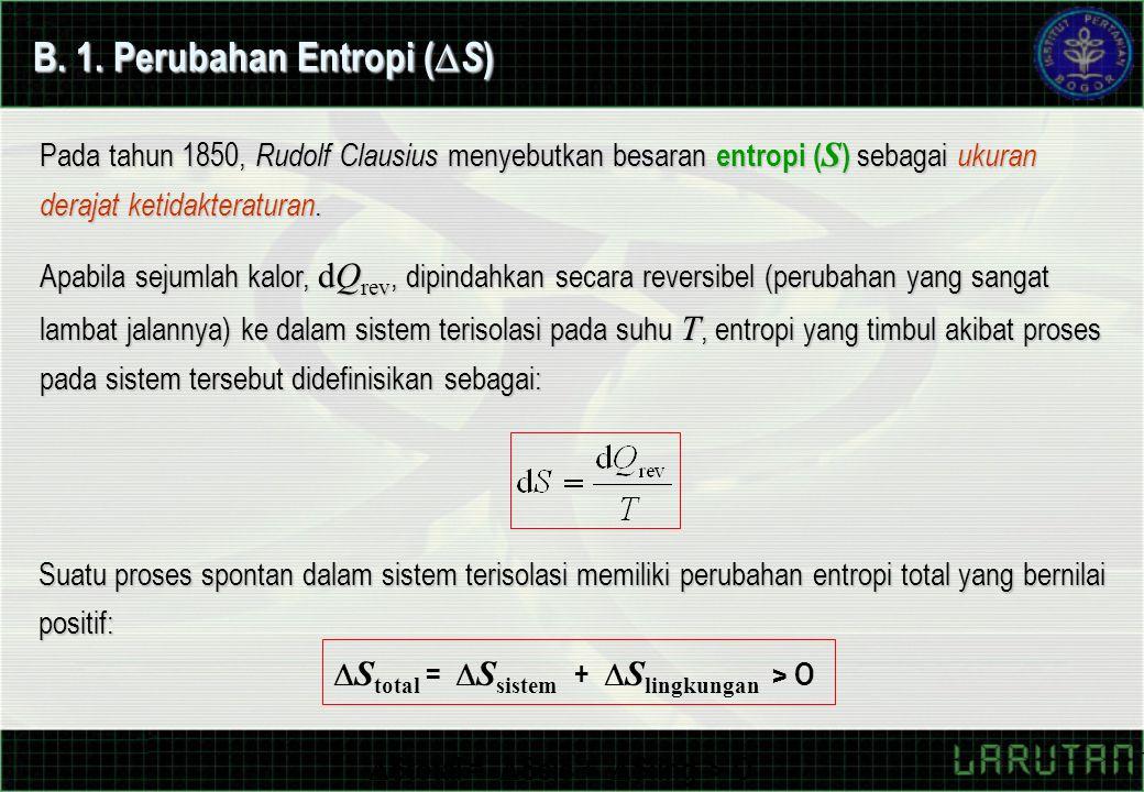 Pada tahun 1850, Rudolf Clausius menyebutkan besaran entropi ( S ) sebagai ukuran derajat ketidakteraturan.