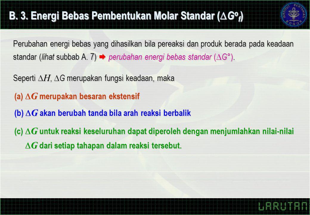 B. 3. Energi Bebas Pembentukan Molar Standar (  G o f ) Perubahan energi bebas yang dihasilkan bila pereaksi dan produk berada pada keadaan standar (