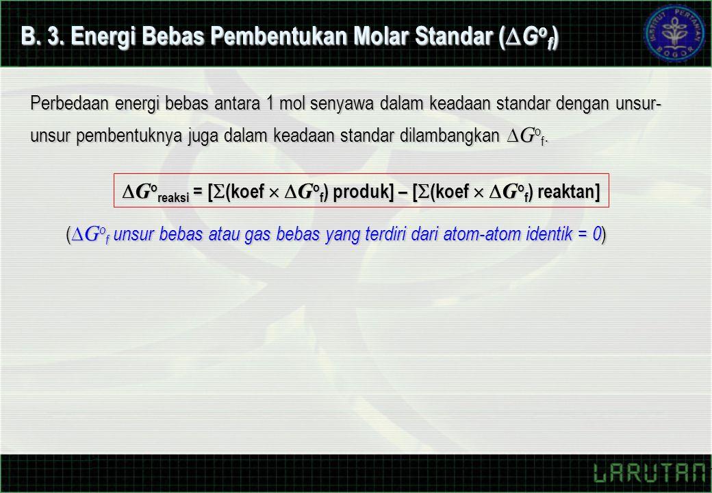 (  G o f unsur bebas atau gas bebas yang terdiri dari atom-atom identik = 0 )  G o reaksi = [  (koef   G o f ) produk] – [  (koef   G o f ) reaktan] B.