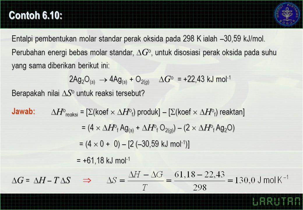 Entalpi pembentukan molar standar perak oksida pada 298 K ialah –30,59 kJ/mol. Perubahan energi bebas molar standar,  G o, untuk disosiasi perak oksi