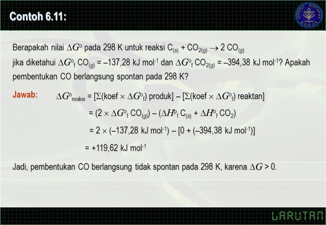 Contoh 6.11: Berapakah nilai  G o pada 298 K untuk reaksi C ( s ) + CO 2( g )  2 CO ( g ) jika diketahui  G o f CO ( g ) = –137,28 kJ mol -1 dan 