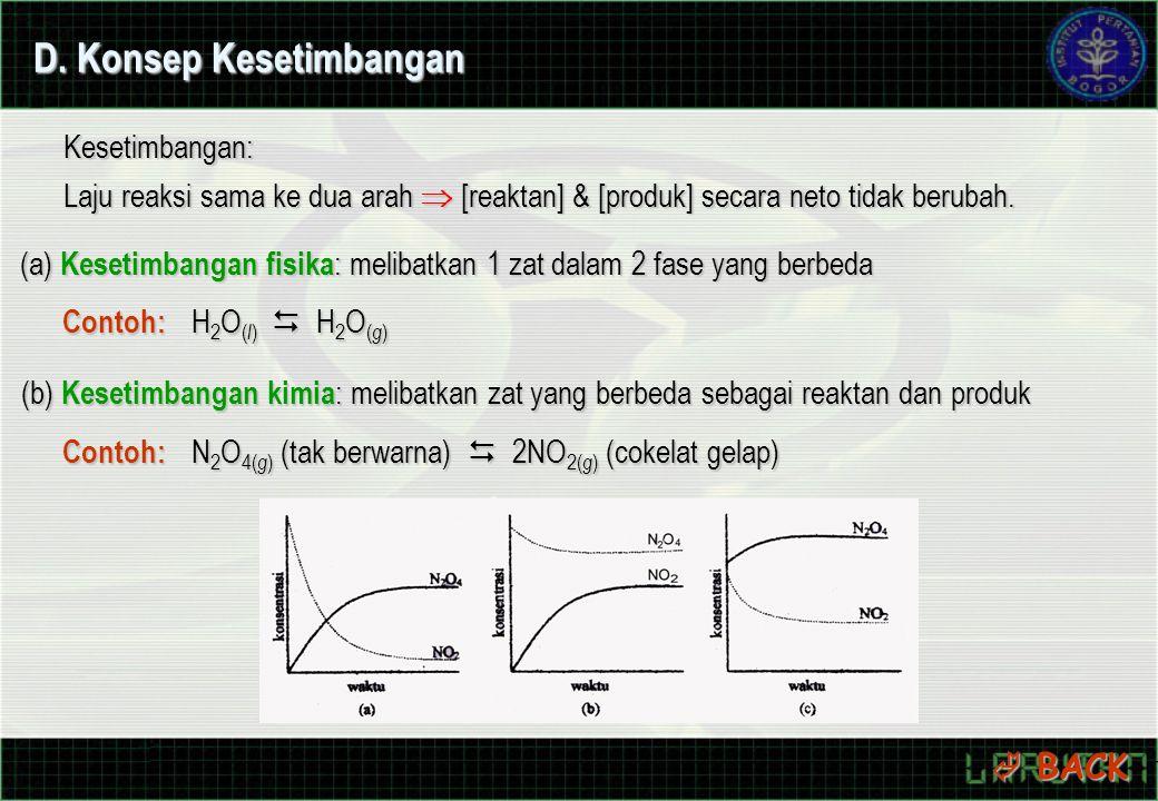 D. Konsep Kesetimbangan Kesetimbangan: Laju reaksi sama ke dua arah  [reaktan] & [produk] secara neto tidak berubah. (a) Kesetimbangan fisika : melib