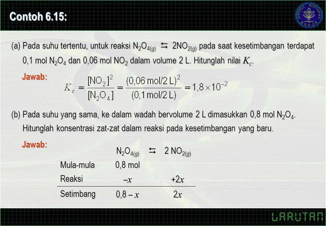 Contoh 6.15: (a) Pada suhu tertentu, untuk reaksi N 2 O 4( g )  2NO 2( g ) pada saat kesetimbangan terdapat 0,1 mol N 2 O 4 dan 0,06 mol NO 2 dalam volume 2 L.