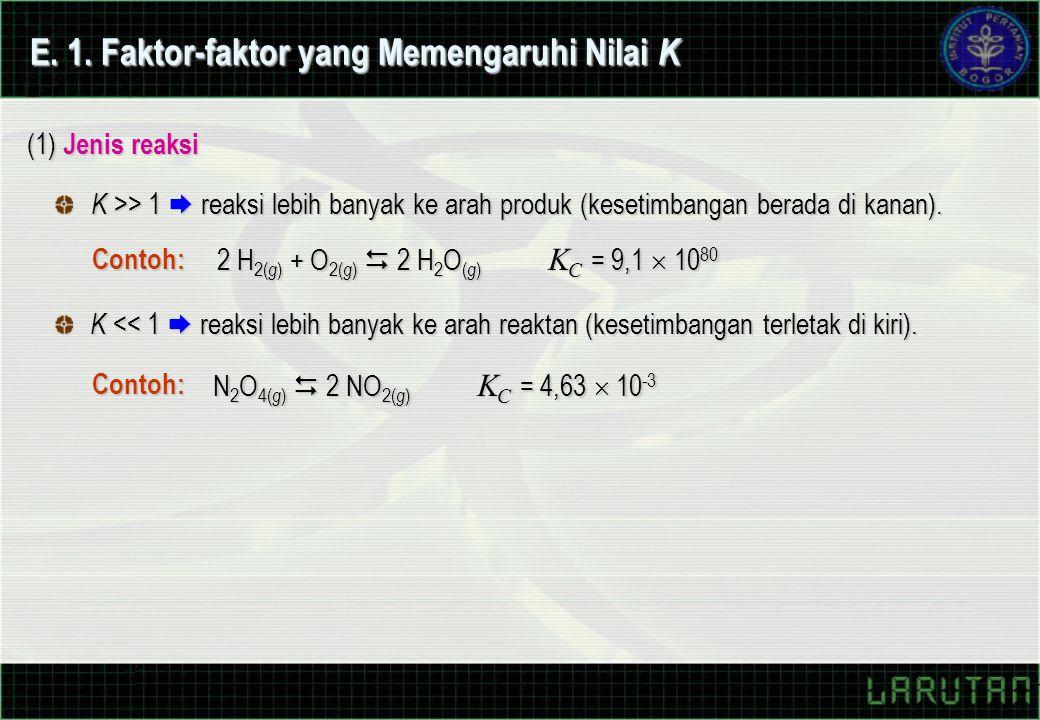 (1) Jenis reaksi K >> 1  reaksi lebih banyak ke arah produk (kesetimbangan berada di kanan). K << 1  reaksi lebih banyak ke arah reaktan (kesetimban