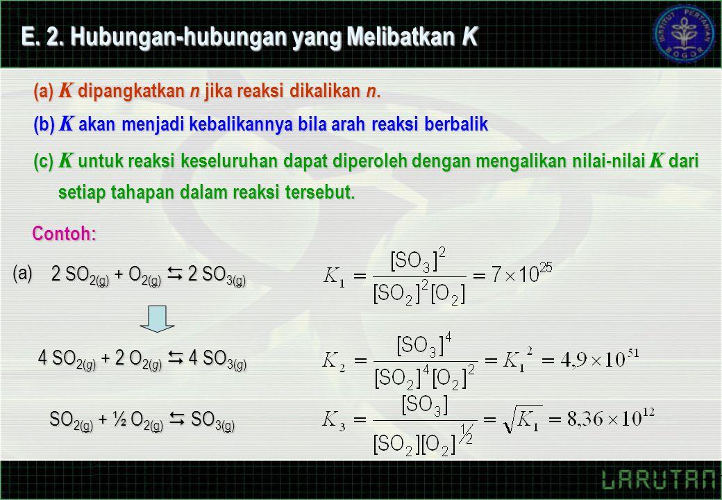 E. 2. Hubungan-hubungan yang Melibatkan K (a) K dipangkatkan n jika reaksi dikalikan n. (b) K akan menjadi kebalikannya bila arah reaksi berbalik (c)