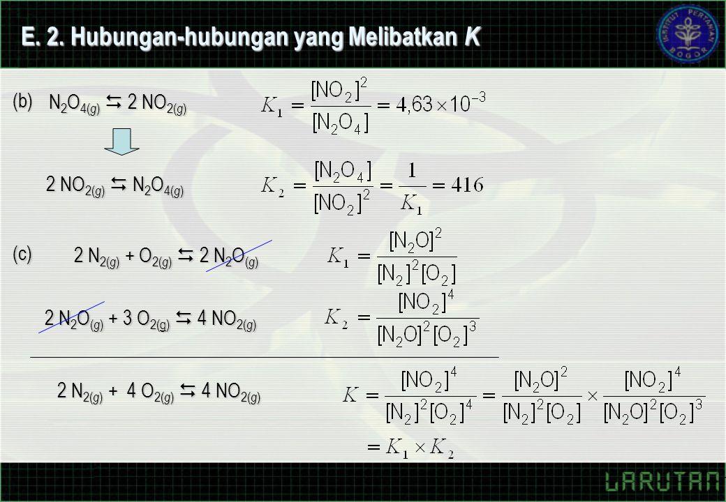 E. 2. Hubungan-hubungan yang Melibatkan K (b) N 2 O 4( g )  2 NO 2( g ) 2 NO 2( g )  N 2 O 4( g ) (c) 2 N 2( g ) + O 2( g )  2 N 2 O ( g ) 2 N 2 O