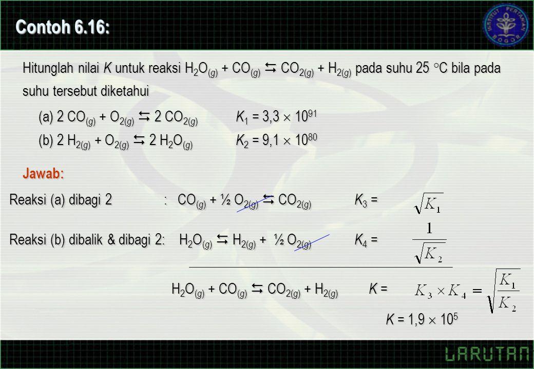Hitunglah nilai K untuk reaksi H 2 O ( g ) + CO ( g )  CO 2( g ) + H 2( g ) pada suhu 25 °C bila pada suhu tersebut diketahui (a) 2 CO ( g ) + O 2( g )  2 CO 2( g ) K 1 = 3,3  10 91 (b) 2 H 2( g ) + O 2( g )  2 H 2 O ( g ) K 2 = 9,1  10 80 Contoh 6.16: Jawab: Reaksi (a) dibagi 2 : CO ( g ) + ½ O 2( g )  CO 2( g ) K 3 = Reaksi (b) dibalik & dibagi 2: H 2 O ( g )  H 2( g ) + ½ O 2( g ) K 4 = H 2 O ( g ) + CO ( g )  CO 2( g ) + H 2( g ) K = K = 1,9  10 5
