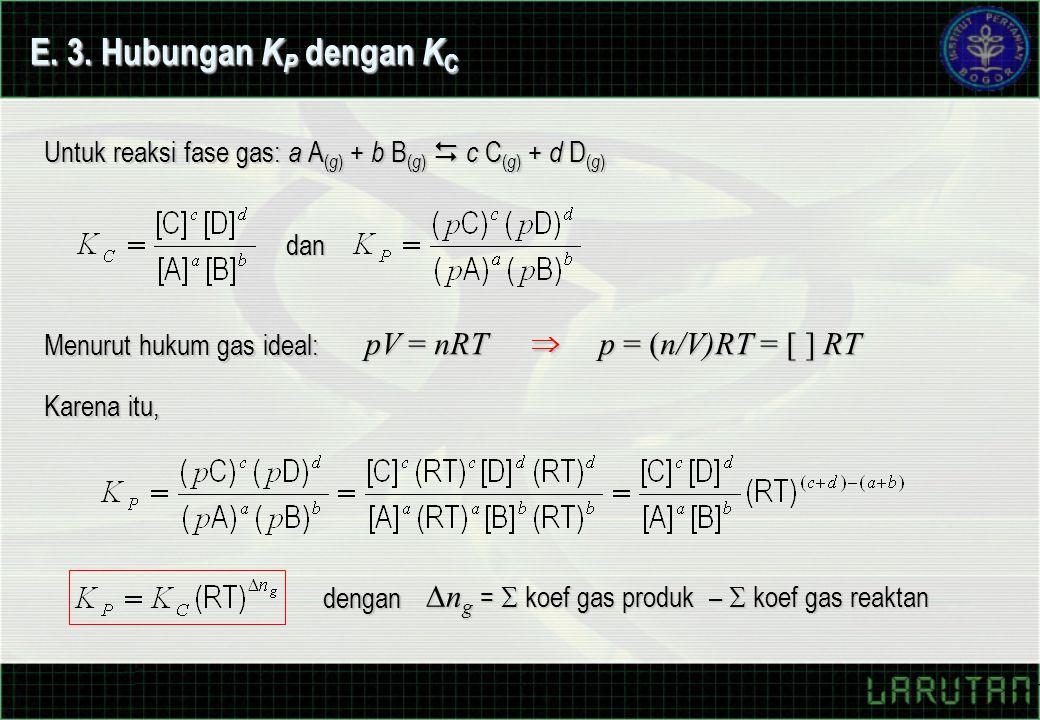 Menurut hukum gas ideal: pV = nRT p = (n/V)RT = [ ] RT E.